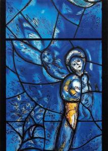 Pfarrkirche Mainz, Marc Chagalls Chorfenster Maria mit dem Kind Detail