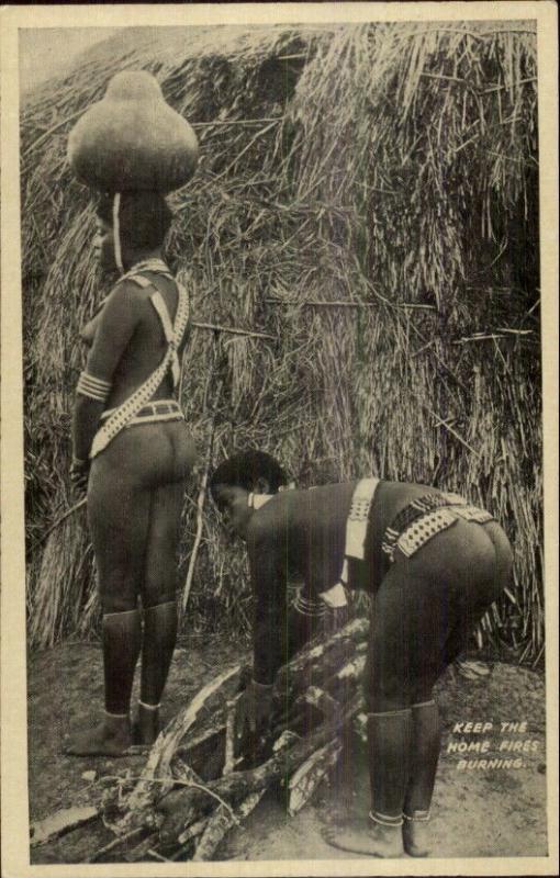 Africa Ethnoghraphy Semi Nude Zulu Women c1920 Postcard #10