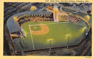 Columbus Ohio aerial view Red Bird Stadium at night linen antique pc ZD549454