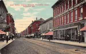 Rockland Maine~Main Street Toward Thorndike Hotel~Storefronts~Burpee's~1911 Pc