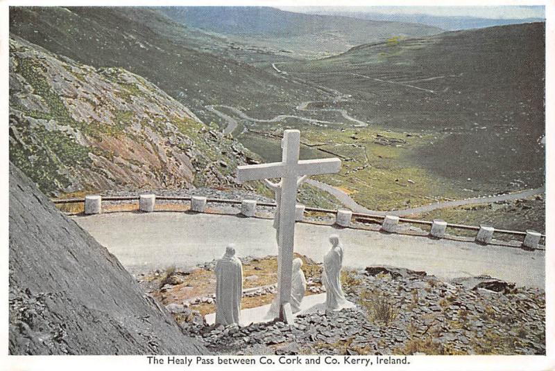 The Healy Pass between Co. Cork and Co. Kerry Crucifix Statues Road