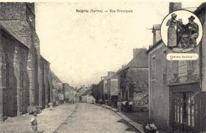Postcard Vintage SEGRIE Sarthe Rue Principale French Reproduction
