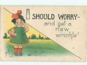 Pre-Linen Comic signed GIRL HOLDING DOLL WORRIES ABOUT GETTING WRINKLES AB9160