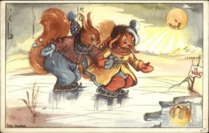 Fantasy Squirrels Ice Skating Nellie Donker Dutch Postcard