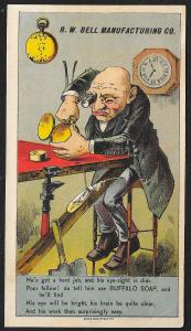 VICTORIAN TRADE CARD Buffalo Soap Old Watchmaker Working on Watch