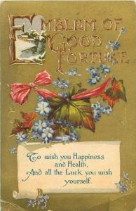 Emblem of Good Fortune, Flowers & Leaves Gold 1911 Postcard, Feb 14 Postmark