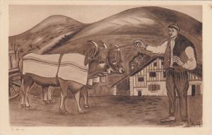 TYPES BASQUES , Bouvier et Son Attelage , 20-30s