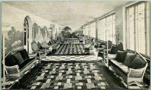 1935 Martinsville, Ind. Postcard HOME LAWN MINERAL SPRINGS Sanitarium Interior