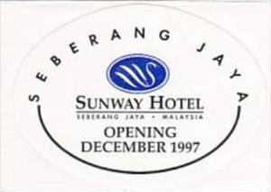MALAYSIA SEBERANG JAYA SUNWAY HOTEL VINTAGE LUGGAGE LABEL