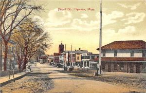 Hyannis MA Cape Cod Railroad Station Train Depot Storefronts Postcard