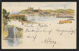 HUNGARY Pozsony County River & Deveny Town Used c1897