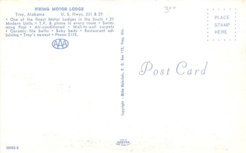 Troy Alabama~Viking Motor Lodge~Highway 231/29~Swimming Pool~50s Cars~Postcard