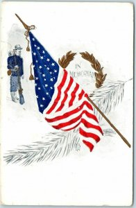 1911 Patriotic Embossed Postcard Decoration / Memorial Day - Civil War Soldier