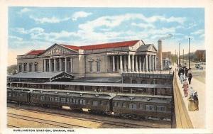 Omaha Nebraska~Burlington Railroad Station~Bas Relief Clock~1920s PC