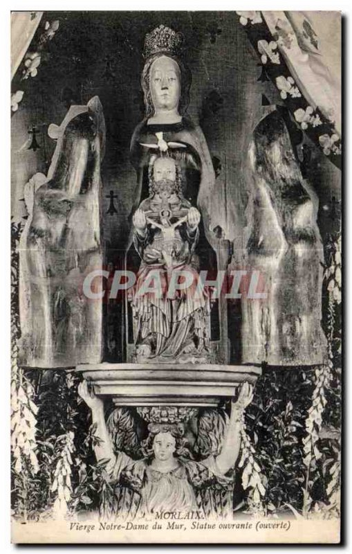 Old Postcard Morlaix Virgin Our Lady of Wall Statue opens