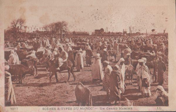 Maroc Moroccon Street March Arabian Grand Marche Arabes Antique Postcard