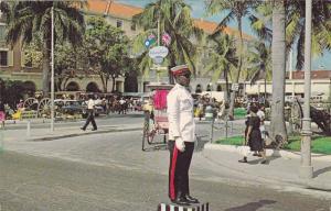 Traffic policeman in Rawson Square , Nassau, Bahama Islands, 40-60s