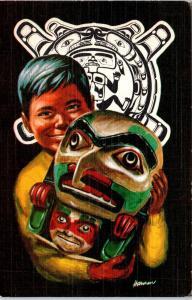 YOUNG ALASKAN INDIAN  Boy and MASK    c1950s   Linen   Postcard