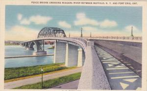U.S. Entrance, Peace Bridge crossing Niagara River between Buffalo, New York ...