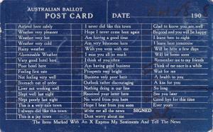 AUSTRALIAN BALLOT~X MARKS EXPRESS MY SENTIMENTS~COMIC POSTCARD 1908