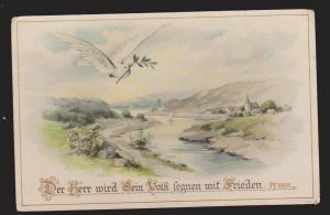 General Greetings - Dove With Branch & German Verse - Unused