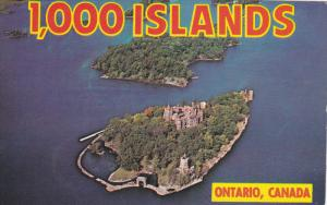THOUSAND ISLANDS, Ontario, Canada, 1940-1960's; Aerial View Of Heart Island A...