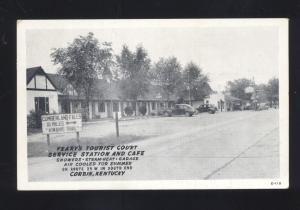 CORBIN KENTUCKY 1940's CARS GAS STATION RESTAURANT OLD ADVERTISING POSTCARD