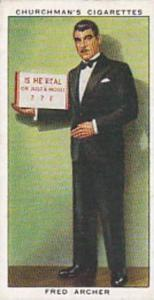Churchman Vintage Cigarette Card In Town To-Night 1938 No 1 Fred Archer