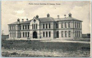 EL CAMPO, Texas Postcard Public School Building Front View w/ 1907 TX Cancel