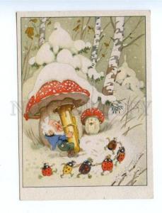 164109 Mushroom AMANITA Musician GNOME Pipe BEETLE vintage PC