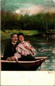 Vtg Carte Postale 1910s Romance Bateau à Rames Bateau Couple Unp