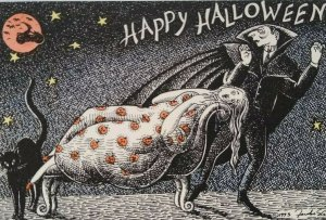 Halloween Postcard Dracula Black Cat Witch On Motorcycle Flying Rabbit 1993
