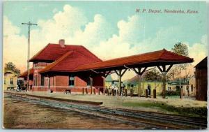 Neodesha, Kansas Postcard Missouri Pacific RAILROAD DEPOT Scene c1910s Unused