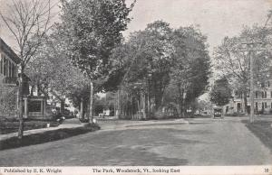 The Park, Looking East, Woodstock, Vermont, Early Postcard, Used in 1920