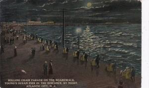 New Jersey Atlantic Beach Rolling Chair Parade On The Boardwalk At Night 1914
