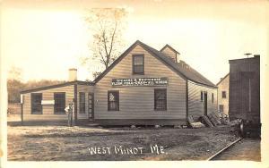 West Minot ME Stearns & Whittenmore Feed & Grain Train Railroad RPPC Postcard