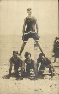 Life Guards? Men Bathing Suits Pyramid on Beach Hunks Gay Interest c1910 RPPC