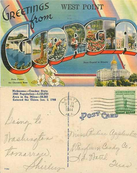 Greetings from West Point Georgia, Large Letters, GA, 1944 Linen