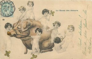 La Danse des Amours cochon little cupids girls fantasy 1905 pig caricature