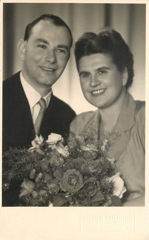 Wein/Vienna Austria~Happy Couple RPPC AtelierAmerling Amerlingstraße 1954 Photo