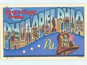 Linen BIG LETTERS Philadelphia Pennsylvania PA ho7104