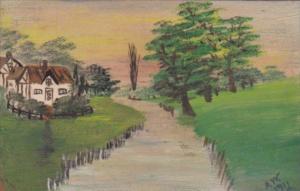 Landscape Scene Hand Painted Postcard