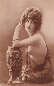 Glamour Lady Playing With Roman Risque Vase Pottery Old Postcard