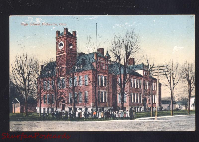 HICKSVILLE OHIO HIGH SCHOOL BUILDING ANTIQUE VINTAGE POSTCARD GARRETT INDIANA