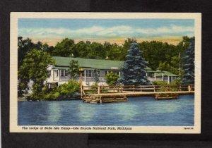 MI Lodge Belle Isle Camp Royal National Park Michigan Postcard Linen PC