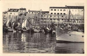 Split Croatia Harbor Boats Waterfront Real Photo Antique Postcard K85271