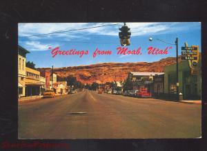 MOAB UTAH DOWNTOWN STREET SCENE 1950's CARS VINTAGE POSTCARD TRUCKS