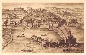 Algeria Vue d'Alger en 1680 Panorama Harbour Boats Bateaux