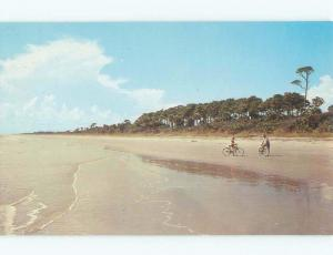 Unused Pre-1980 RIDING BICYCLES ON BEACH Hilton Head Island SC d7020