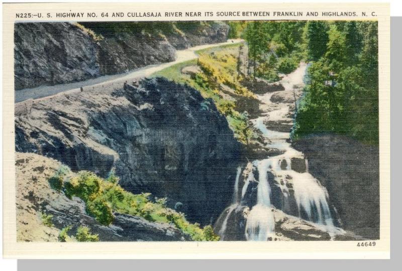 Franklin/Highlands, NC Postcard, Cullasaja River, Near Mint!